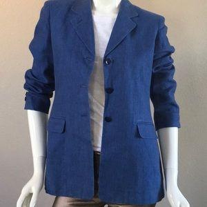 JONES NEW YORK Linen Blue Blazer